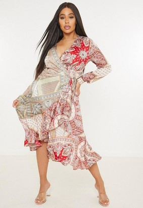 Missguided Size Brown Paisley Print Wrap Midaxi Dress