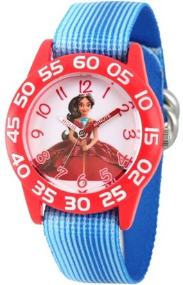 Disney Elena of Avalor Girls' Red Plastic Time Teacher Watch, Blue Stripe Stretchy Nylon Strap