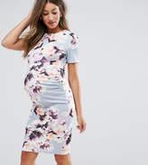 Asos PETITE Crew Neck Bodycon Dress in Floral Print