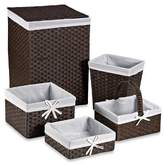 Redmon 5-Piece Hamper Set with White Liners in Espresso by