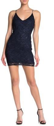 Love...Ady Sequin Lace Slip Dress