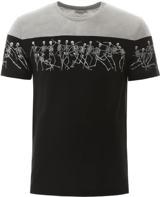Alexander McQueen SKELETON PRINT T-SHIRT M Black, Grey Cotton