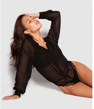 Bras N Things Amelia Fashion Long Sleeve Bodysuit - Black