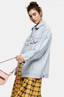 Topshop Womens Bleach Denim Oversized Dad Jacket - Bleach Denim