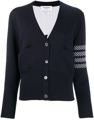 Thom Browne 4-Bar Dolphin Embroidered Cardigan