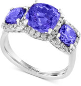 Effy Final Call Tanzanite (2-3/4 ct. t.w.) Three-Stone and Diamond (1/3 ct. t.w.) Ring in 14k White Gold
