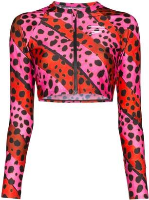 House of Holland Leopard Print Striped Bikini Top