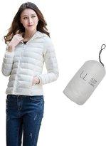 Oriental Pearl Women's Fashion Solid Ultra Light Zip-up Hooded Short Down Jacket