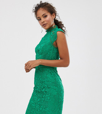 Chi Chi London Tall scallop lace pencil dress in green