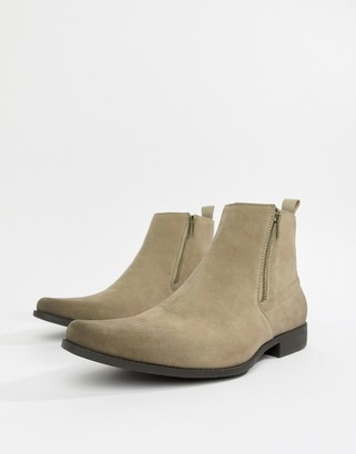Asos Design DESIGN chelsea boots in stone faux suede with zips