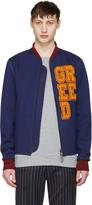Pyer Moss Ssense Exclusive Blue greed Varsity Bomber Jacket