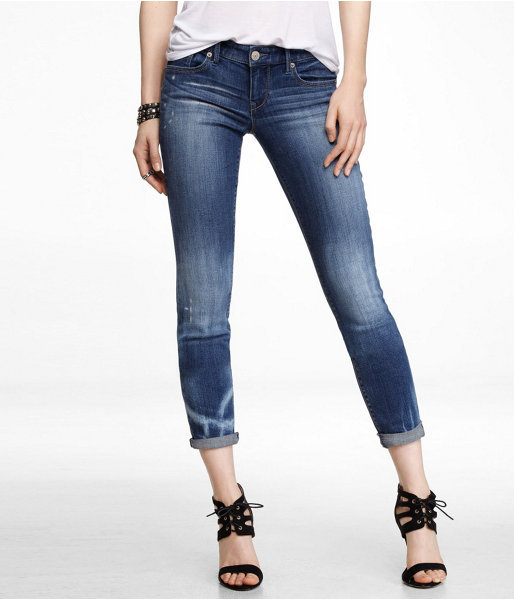 Express Bleached Rolled Ankle Skinny Leg Jean