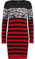 Just Cavalli Paneled Intarsia-Knit And Striped Felt Mini Dress