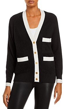 C by Bloomingdale's Tipped Grandfather Cashmere Cardigan - 100% Exclusive