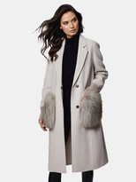 Thumbnail for your product : Dawn Levy Natalie Double Faced Wool Coat with Fur Trim