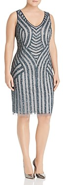 Adrianna Papell Plus Embellished Pattern Sheath Dress