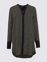 Marks and Spencer Spotted Notch Neck Long Sleeve Tunic