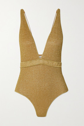 Oseree Lumiere Stretch-lurex Swimsuit - Gold