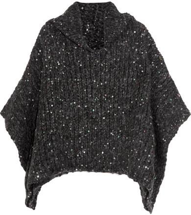 Brunello Cucinelli Sequined Alpaca-blend Turtleneck Sweater - Dark gray