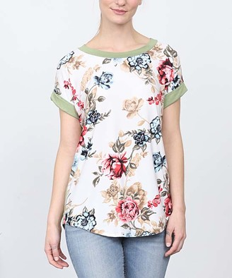 Egs By Eloges egs by eloges Women's Tunics IVORY - Ivory & Sage Floral Tunic - Women & Plus