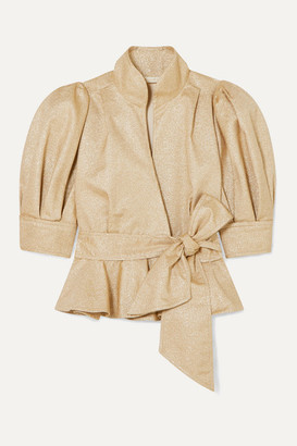 ANNA MASON Stella Metallic Crepe Peplum Jacket - Tan