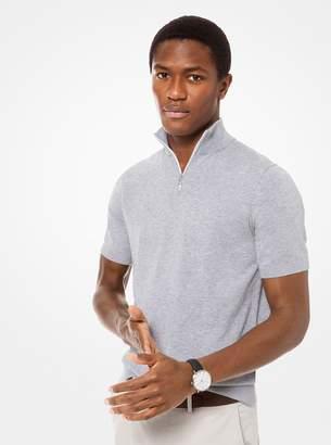 Michael Kors Cotton-Blend Quarter-Zip Short-Sleeve Pullover