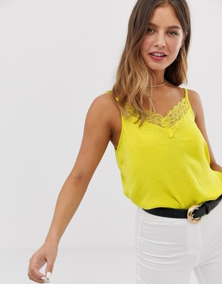 JDY lace trim cami top in yellow