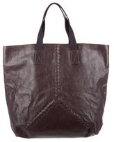 Bottega Veneta Intrecciato-Trimmed Leather Tote