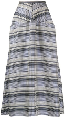 Yohji Yamamoto Pre Owned 1990s Ys striped A-line maxi skirt