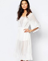 The Jetset Diaries Midi Lace Dress in Ivory