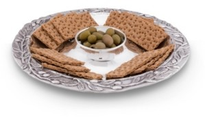 Arthur Court Sand-Cast Olive Pattern Aluminum Large Chip and Dip Tray