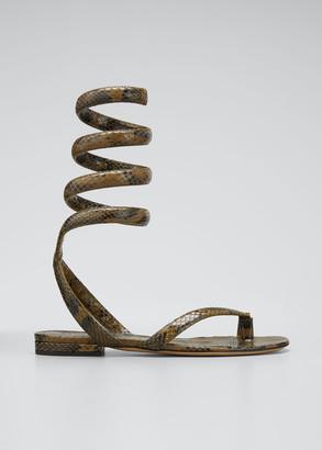 Bottega Veneta Python-Print Coil Flat Sandals