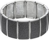 Apt. 9 Silver Tone Glittery Rectangular Link Stretch Bracelet