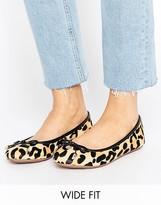 Dune Wide Fit Leopard Print Ballet Flat Shoes