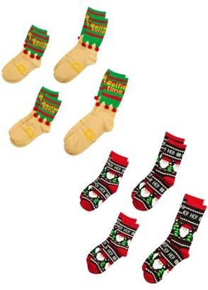 Holiday Time Elfie Time Family Crew Socks, 2 Pack Bundle