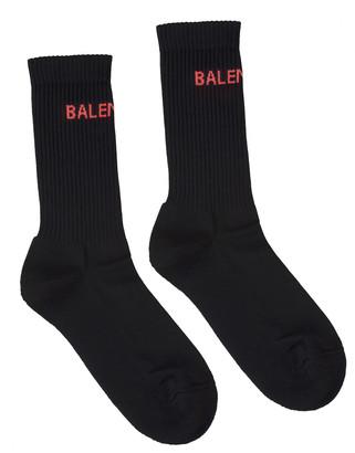 Balenciaga Black Woman Socks With Red Logo