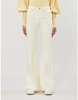 7 For All Mankind High Waist Flare relaxed-fit cotton-twill trousers