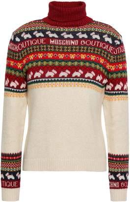 Moschino Metallic Jacquard-knit Turtleneck Sweater