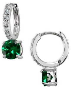 Giani Bernini Colored Cubic Zirconia Huggie Hoop Earrings in Sterling Silver or 18k Gold over Silver (Also Available in Lab Created Opal)