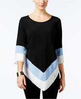 Alfani Colorblocked V-Hem Tunic, Only at Macy's