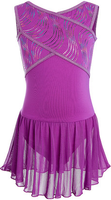 Capezio Future Star By Future Star by Girls' Leotards WIB - Pink & Multicolor Holographic Dot Crisscross-Front Skirted Leotard - Toddler & Girls