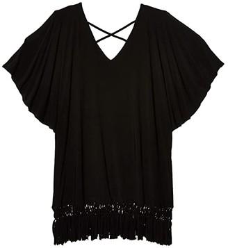 Dotti Plus Size Island Macrame Cold-Shoulder Caftan Cover-Up (Black) Women's Swimwear