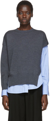Enfold Grey and Blue Layered Pullover Sweater