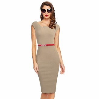 ZIGJOY Sleeveless Women's Elegant Vintage Pencil Bodycon Business Casual Party Dress with Belt Black-L