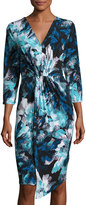 MICHAEL Michael Kors Pleat-Front 3/4-Sleeve Dress, Blue Pattern
