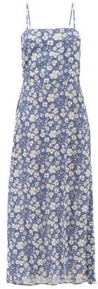 Belize - Oda Drawstring-side Floral-print Crepe Dress - Womens - Blue White