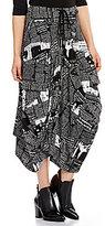 IC Collection Newspaper Print Drawstring Waist A-Line Skirt