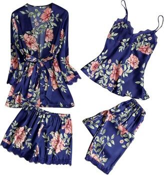 MOTOCO Women Pyjama Silk Satin Pajamas Sleepwear Set Nightwear Nighties Robe Dressing Gown V-Neck Robes Sexy Slip Lace Cami (XL