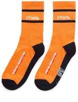 Heron Preston Cyrillic letter intarsia socks
