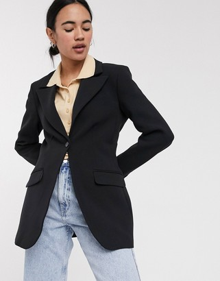 Weekday Paris fitted blazer in black